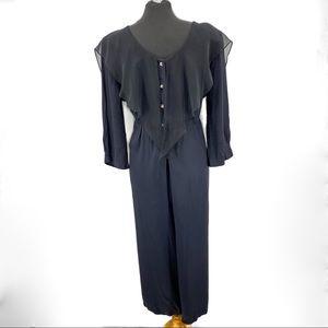 Vintage Jumpsuit Black Button Down